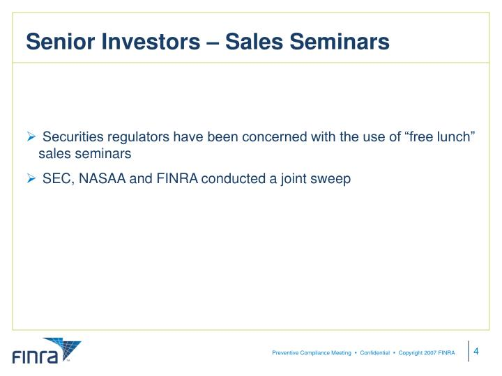 Senior Investors – Sales Seminars