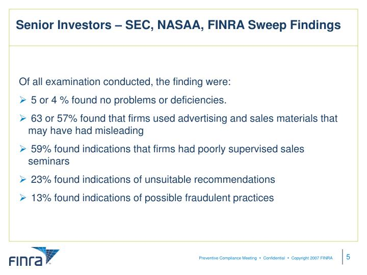 Senior Investors – SEC, NASAA, FINRA Sweep Findings
