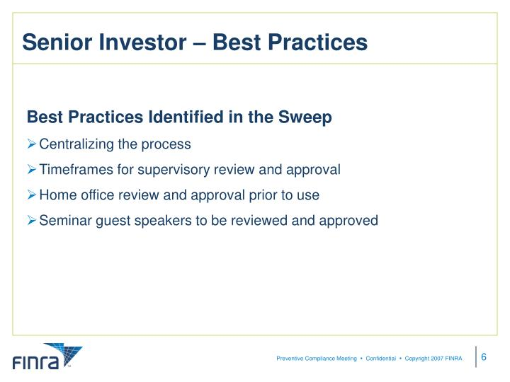 Senior Investor – Best Practices