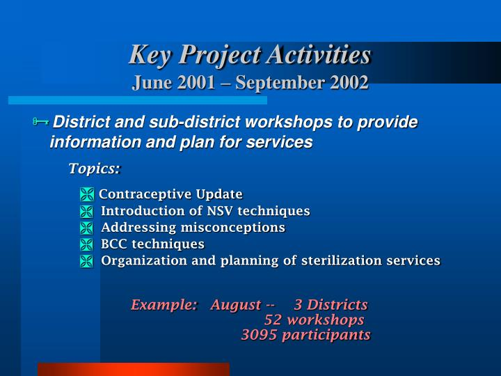 Key Project Activities