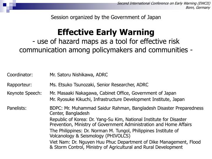 Second International Conference on Early Warning (EWCII)