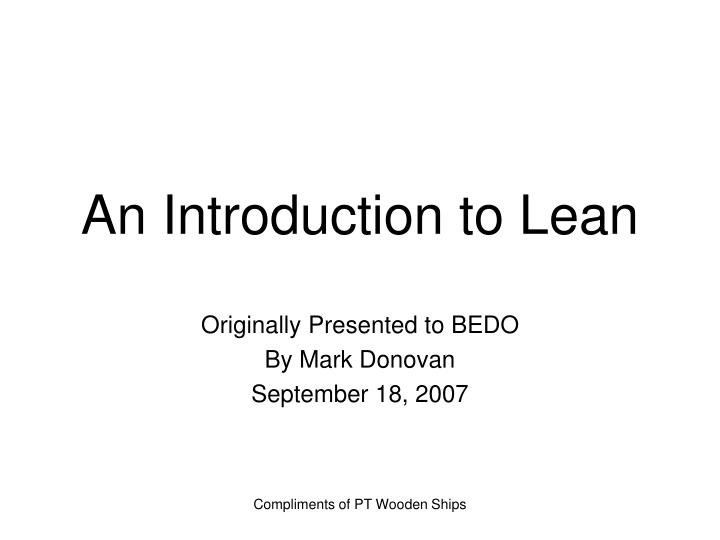 An introduction to lean
