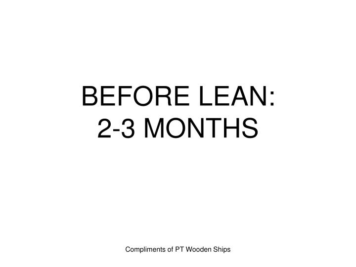 BEFORE LEAN: