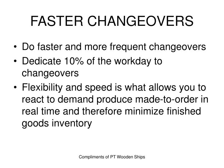 FASTER CHANGEOVERS