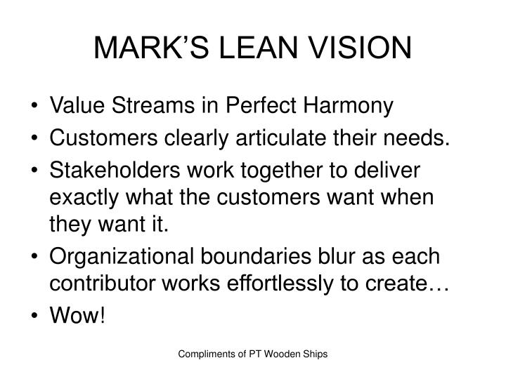MARK'S LEAN VISION
