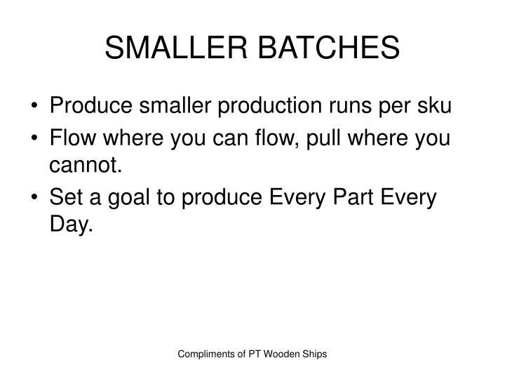 SMALLER BATCHES