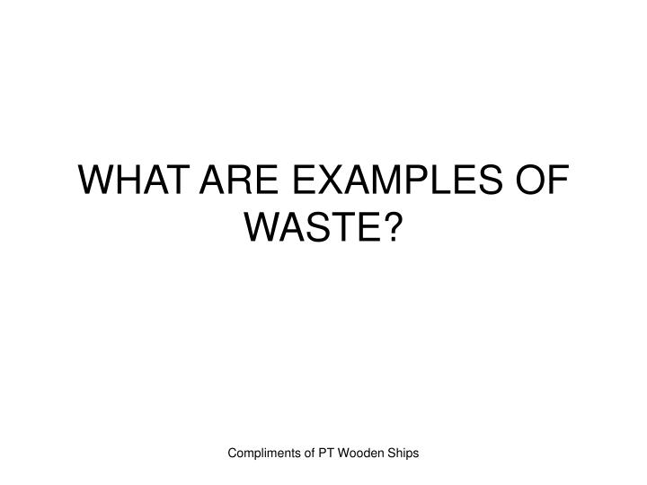 WHAT ARE EXAMPLES OF WASTE?