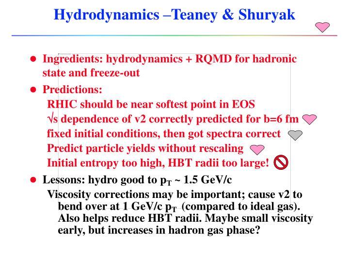 Hydrodynamics –Teaney & Shuryak