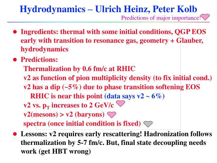 Hydrodynamics – Ulrich Heinz, Peter Kolb