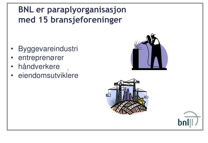 BNL er paraplyorganisasjon