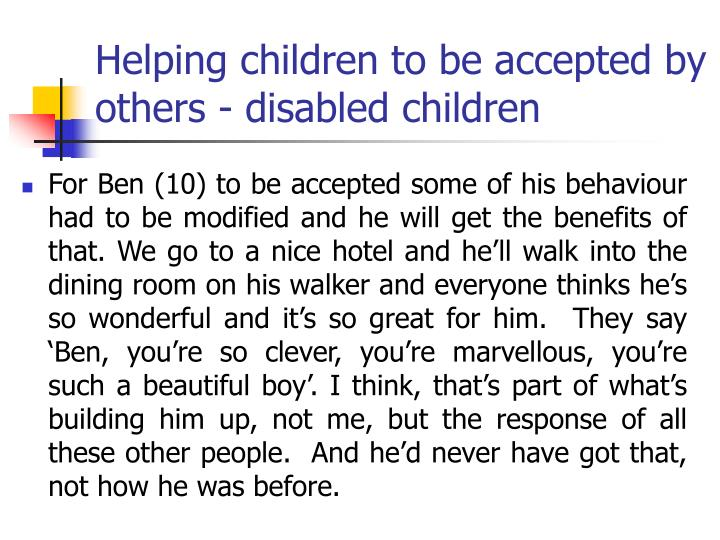 Helping children to be accepted by others - disabled children