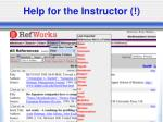 help for the instructor