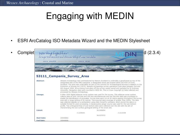 ESRI ArcCatalog ISO Metadata Wizard and the MEDIN Stylesheet
