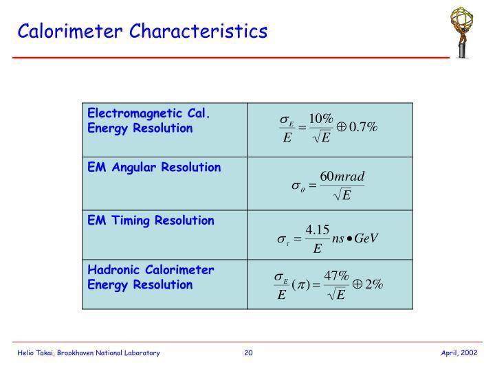Calorimeter Characteristics