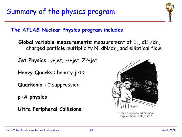 Summary of the physics program