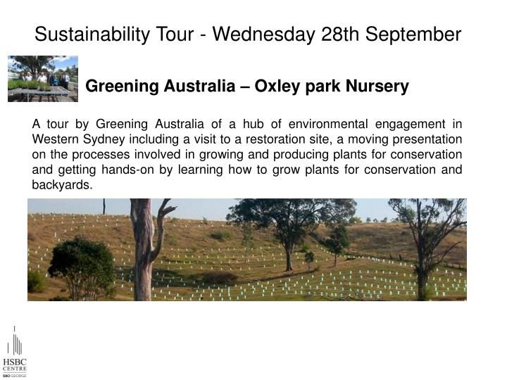 Sustainability Tour - Wednesday 28th September