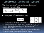 continuous dynamical systems