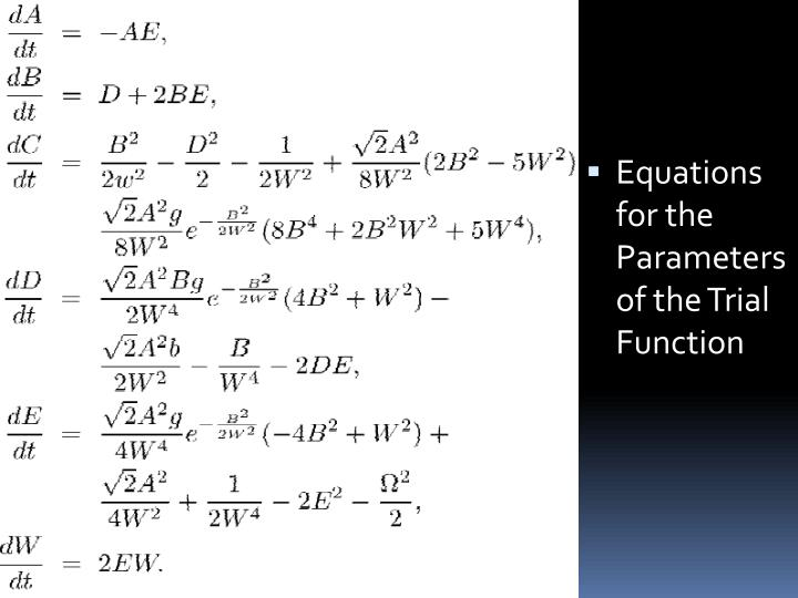Equations for the Parameters of the Trial Function
