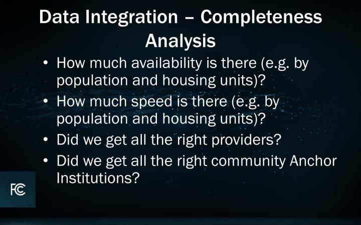 Data Integration – Completeness Analysis