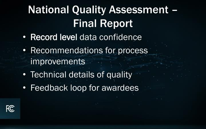 National Quality Assessment –