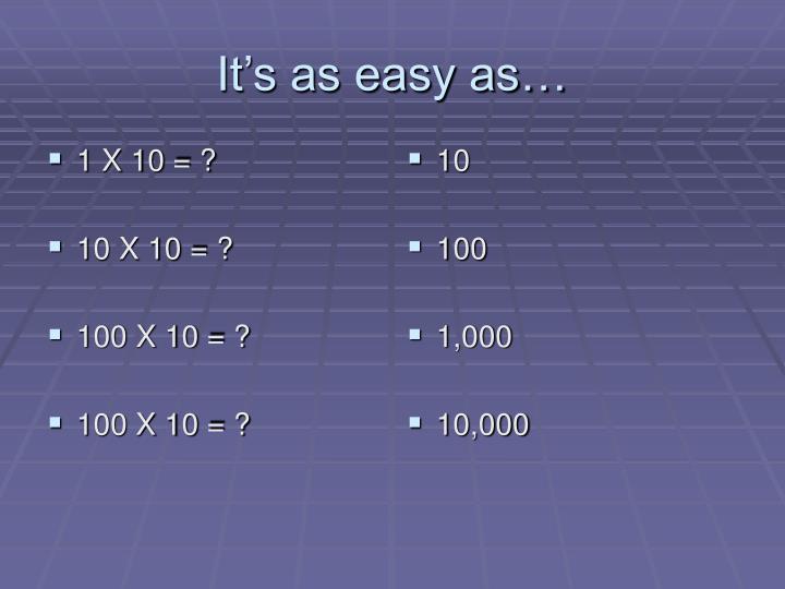 1 X 10 = ?