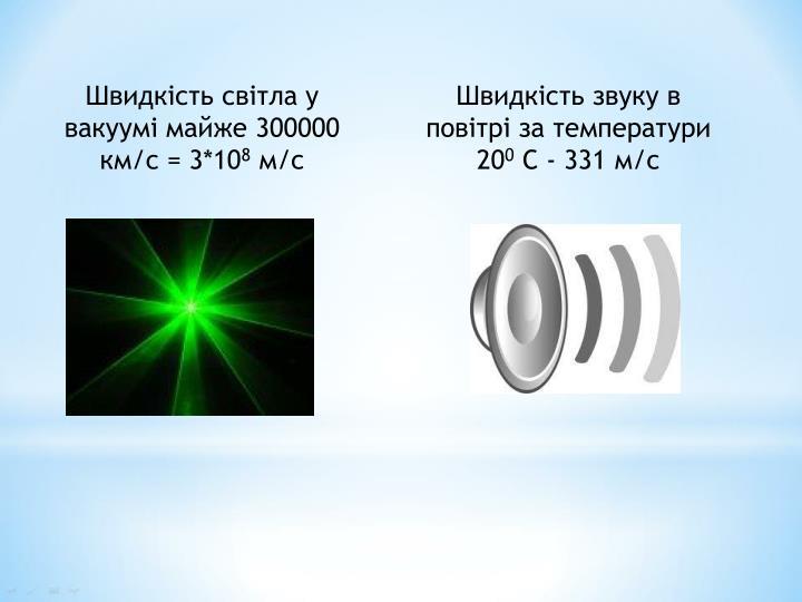 Швидкість світла у вакуумі майже 300000 км/с = 3*10