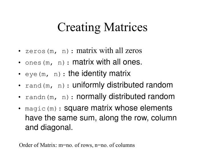 Creating Matrices