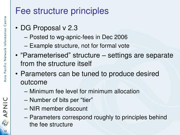 Fee structure principles