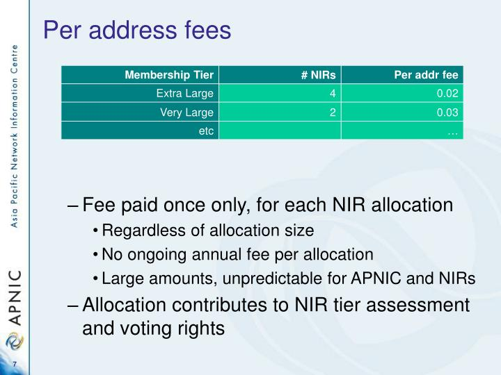 Per address fees