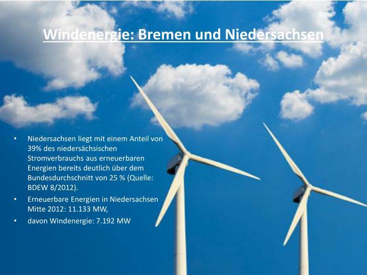 Windenergie: Bremen und Niedersachsen