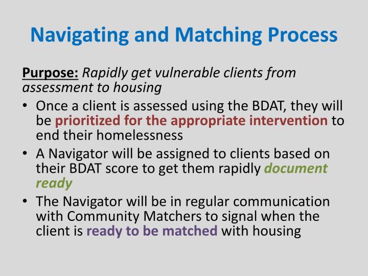 Navigating and Matching Process
