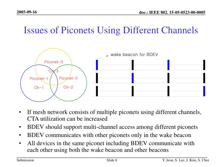 Issues of Piconets Using Different Channels