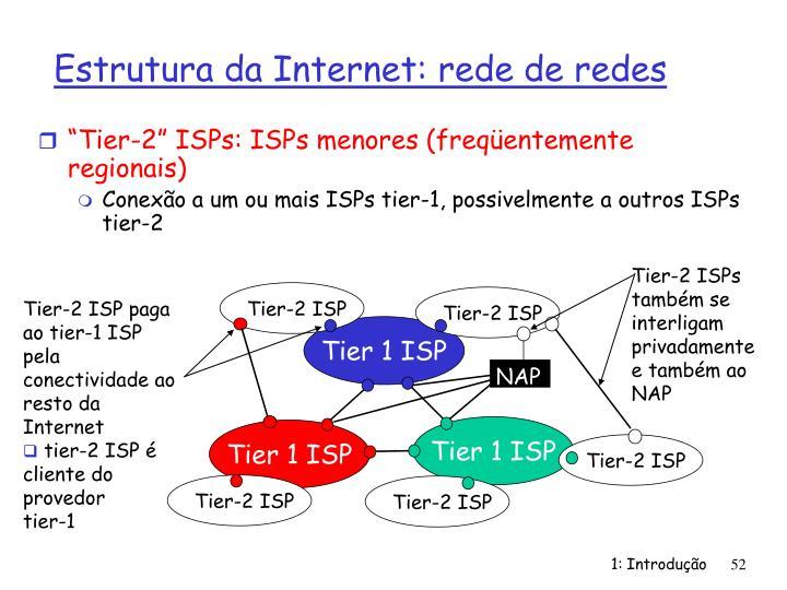"""Tier-2"" ISPs: ISPs menores (freqüentemente regionais)"