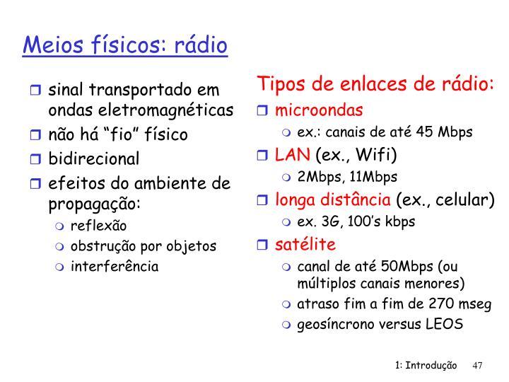 sinal transportado em ondas eletromagnéticas