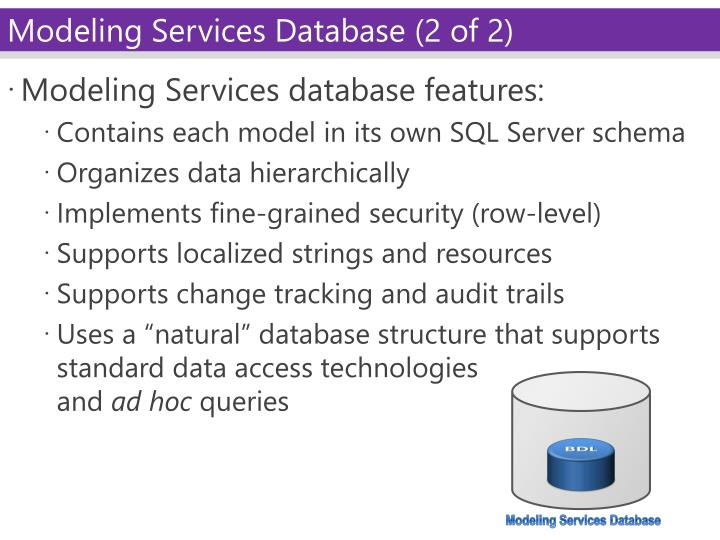 Modeling Services database features: