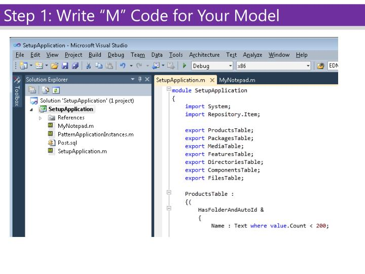 "Step 1: Write ""M"" Code for Your Model"