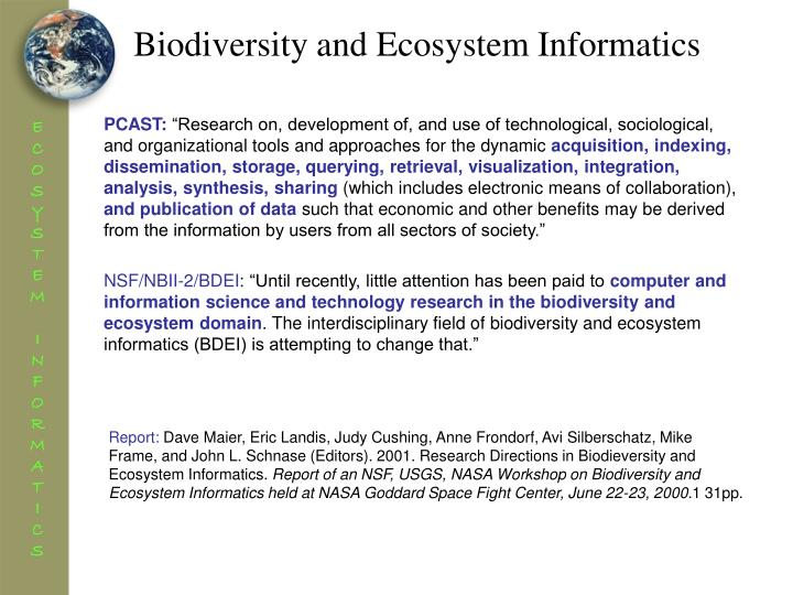 Biodiversity and Ecosystem Informatics
