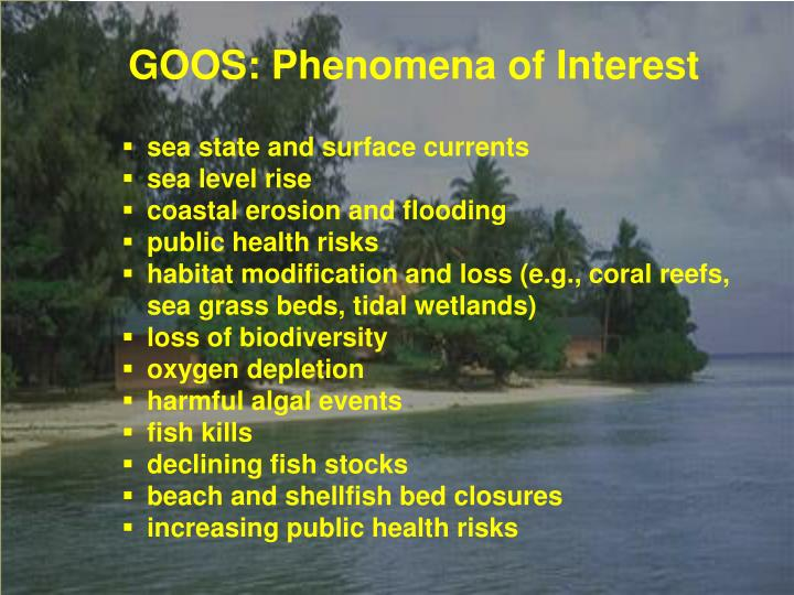 GOOS: Phenomena of Interest