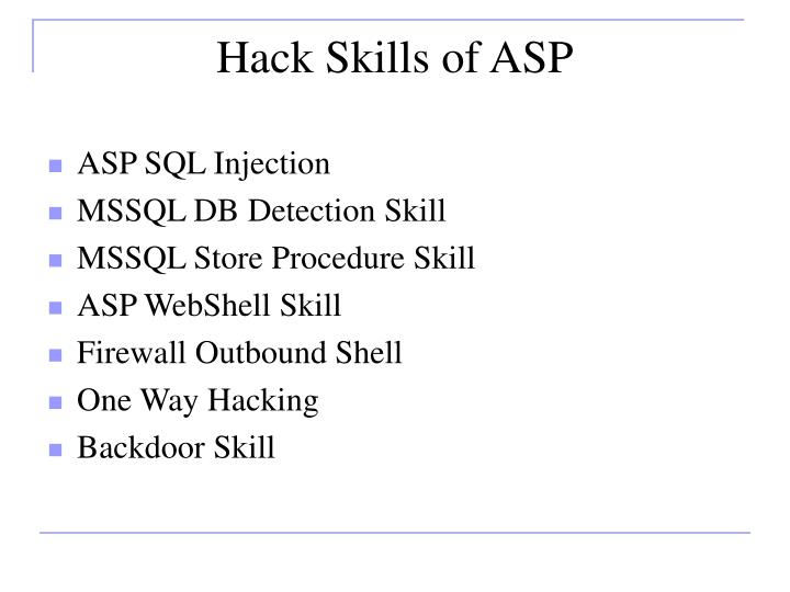 Hack Skills of ASP