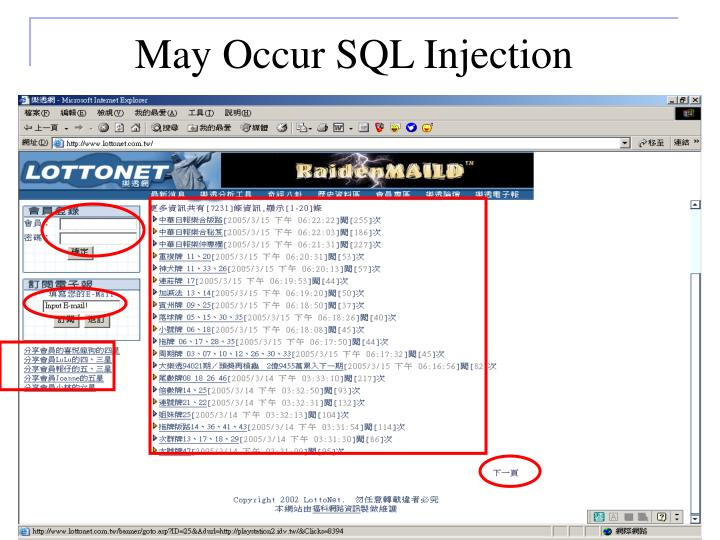 May Occur SQL Injection