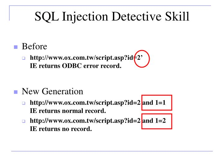 SQL Injection Detective Skill