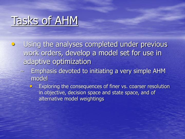 Tasks of AHM