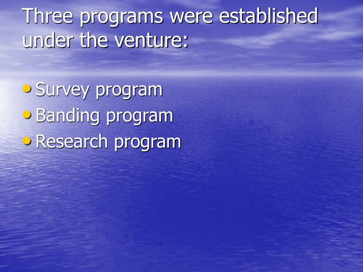 Three programs were established under the venture: