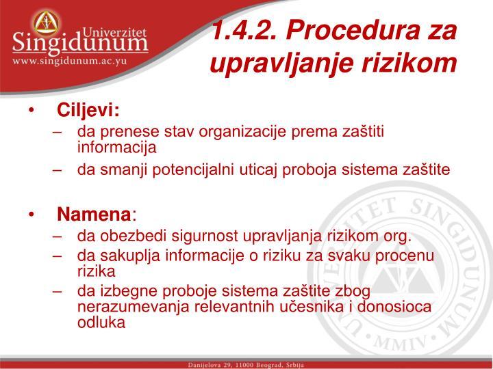 1.4.2. Procedura za upravljanje rizikom