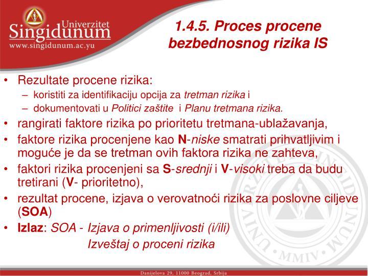 1.4.5. Proces procene bezbednosnog rizika IS