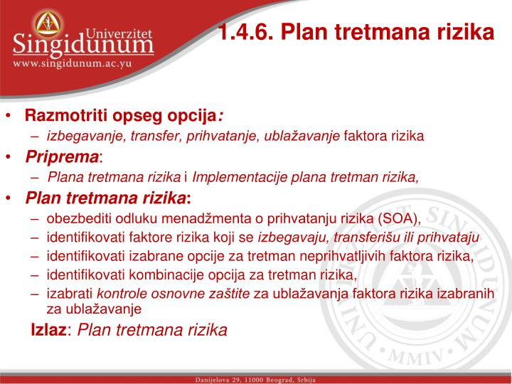 1.4.6. Plan tretmana rizika