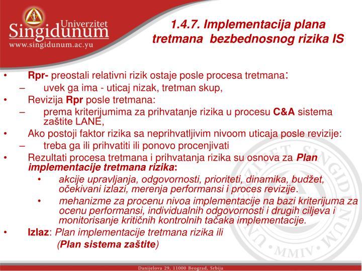 1.4.7. Implementacija plana