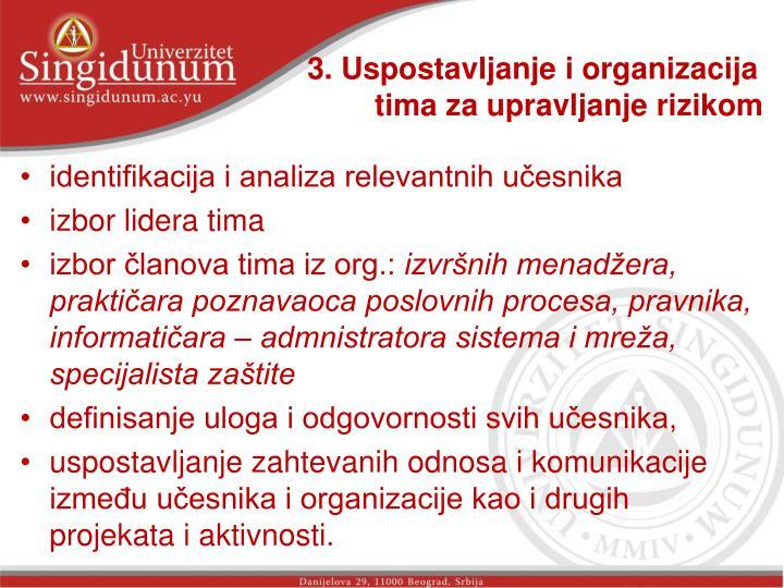 3. Uspostavljanje i organizacija tima za upravljanje rizikom