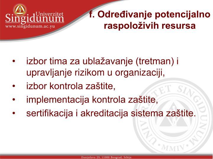 f. Određivanje potencijalno raspoloživih resursa