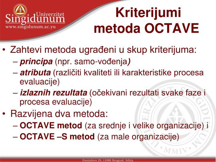 Kriterijumi metoda OCTAVE